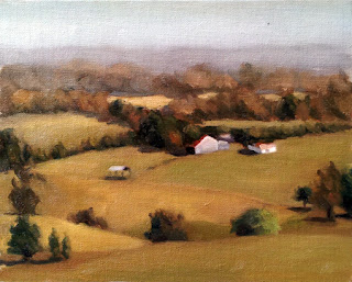 Oil painting of farm buildings and paddocks with tree-lined roadways and distant rolling hills.