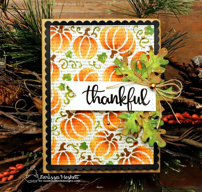 Thank you cards by Larissa Heskett | Thankful Thoughts Stamp Set, Pumpkin Patch Stencil and Autumn Leaves Die Set by Newton's Nook Designs #newtonsnook #handmade