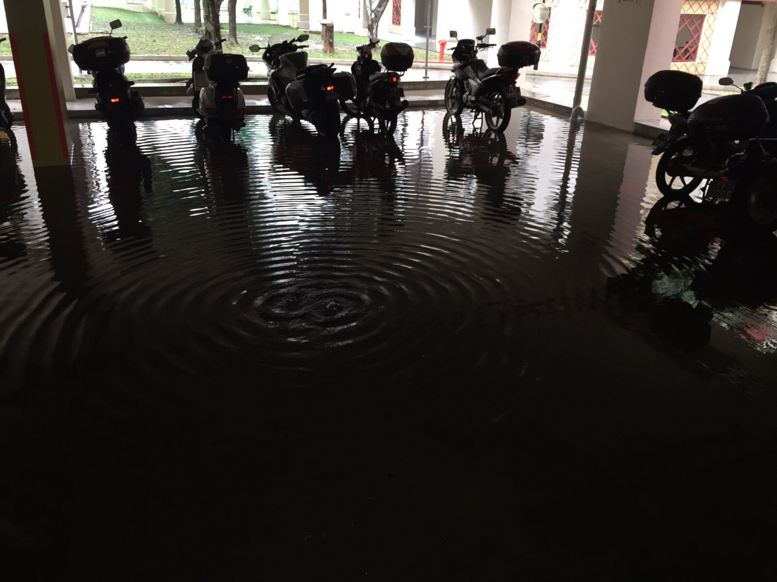A flooded carpark in Ang Mo Kio Avenue 4