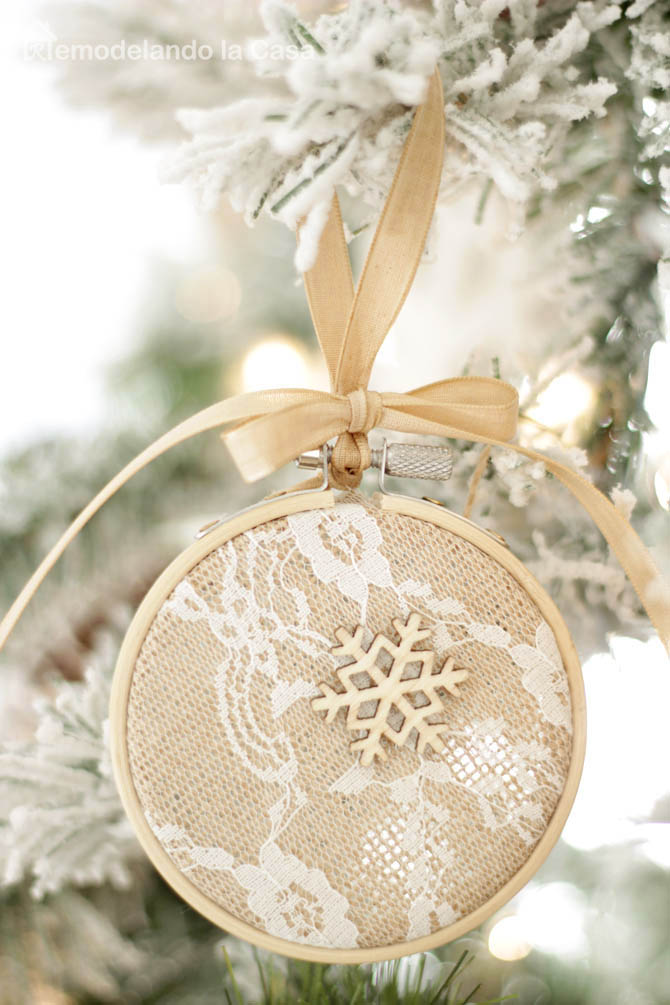 burlap and lace fabric, wooden stars, natural color ribbon, flocked Christmas tree