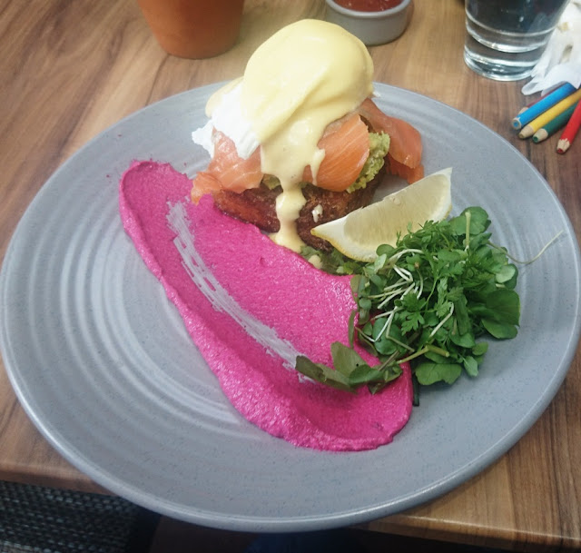 The Scented Garden Cafe, Croydon, smoked salmon fritter