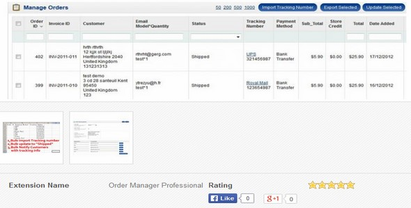 Order Manager Professional v2 – Extension For OpenCart