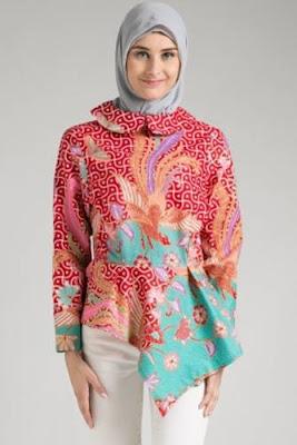model atasan batik wanita muslimah modern