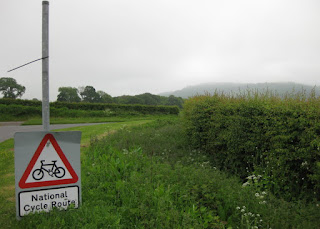National Cycle Route sign detached from its post on a foggy morning, near Mabie Forest, Scotland