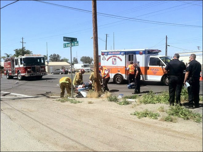 van motorcycle hit and run accident bakersfield severed leg truxtun miller