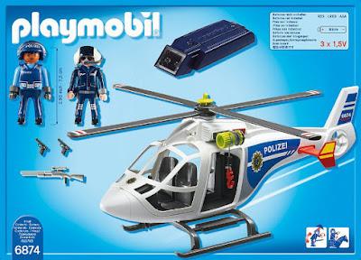 TOYS : JUGUETES - PLAYMOBIL City Action  6874 Helicóptero de la policía con luz LED  Producto Oficial 2016 | Edad: 4-10 años  Comprar en Amazon España