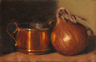 Oil painting of a small two-handled pot beside a brown onion.