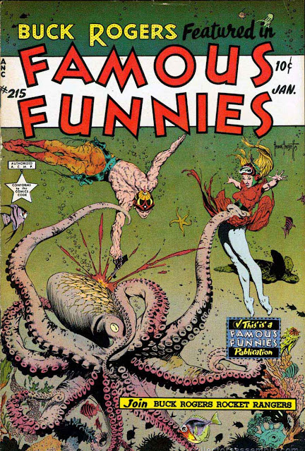 Frank Frazetta Buck Rogers 1950s golden age science fiction comic book cover / Famous Funnies #215