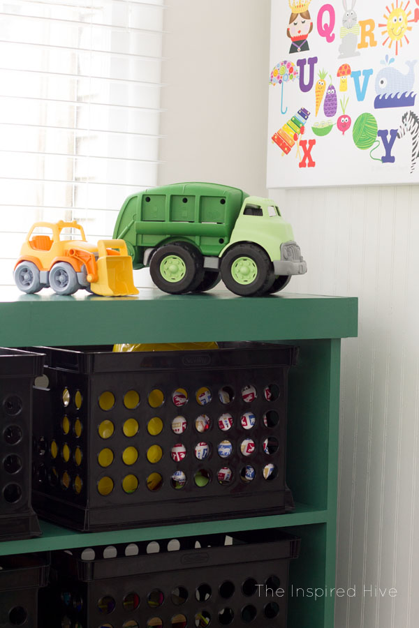 DIY Toy storage shelf idea.