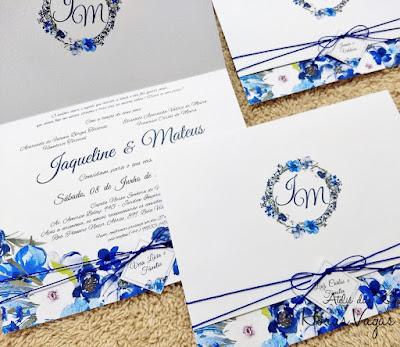 convite de casamento artesanal personalizado floral aquerelado boho chic azul branco convite simples delicado barato promocional lindo sofisticado