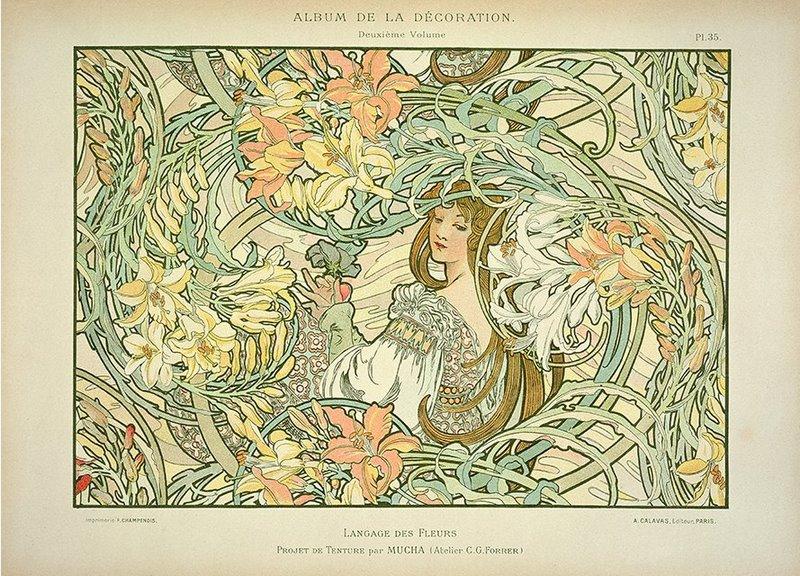 Lenguaje de la flores - Langage des Fleurs -  Alphonse Mucha