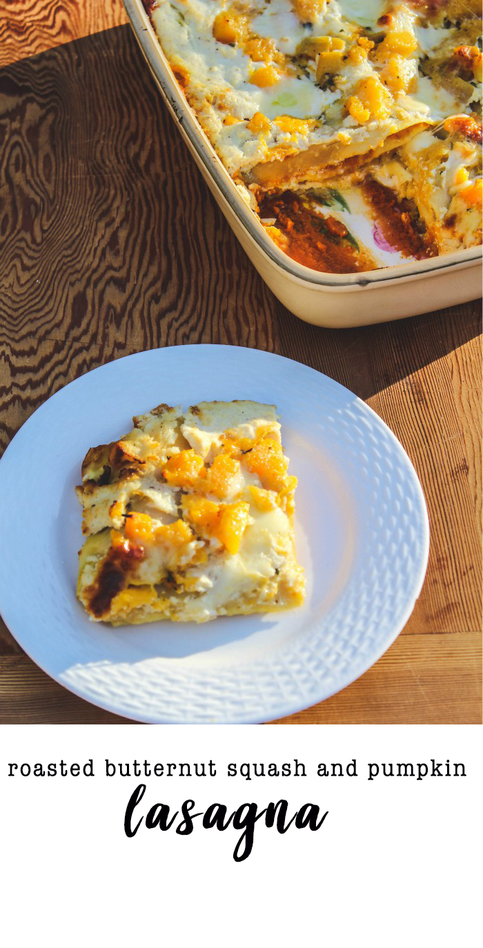 A fall twist on a classic Italian dish. This pumpkin and butternut squash lasagna is a delicious vegetarian dish that everyone will love. Sweet and savory roasted squash and pumpkin puree between delicate layers of lasagna and gooey cheese. #italianrecipe #lasagna #butternutsquash #vegetarian #comfortfood