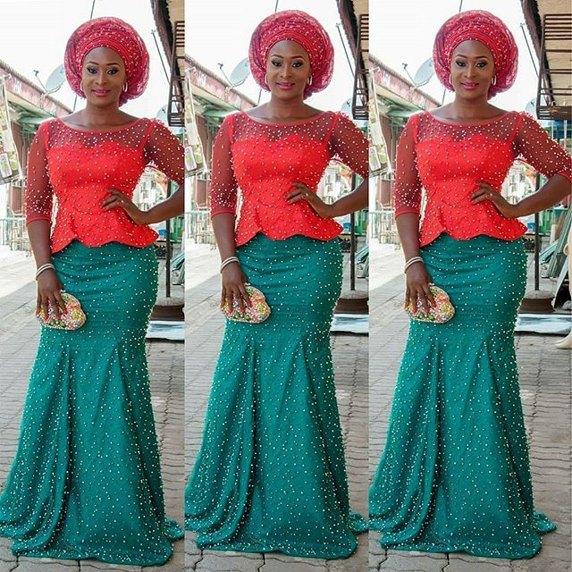 Aso Ebi Styles 2016 : Green And Red Colour Combinations