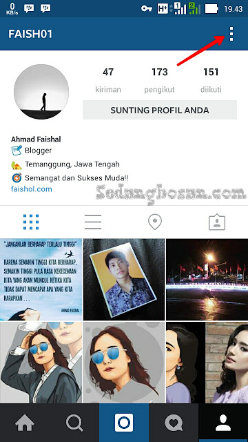 Masuk Profil Instagram Kemudian Klik 3 Titik Di Pojok Kanan Atas