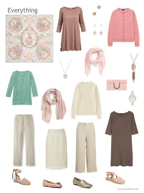 capsule wardrobe in beige and brown with green and rose accents
