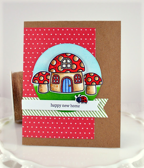 Sunny Studio Stamps: Backyard Bugs New Home Ladybug & Toadstool Card by Nora Noll