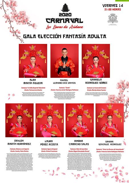 Diecinueve aspirantes desfilarán en las Galas del Carnaval de Los Llanos de Aridane para alzarse con los premios a la Mejor Fantasía