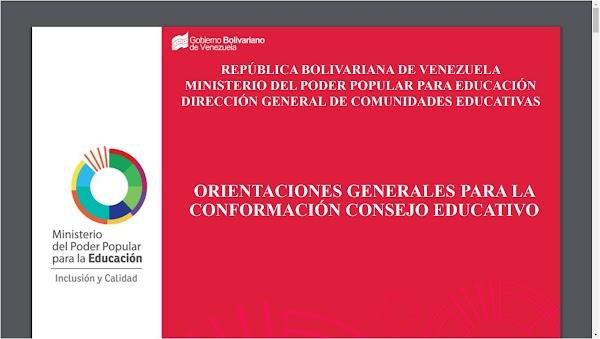 ORIENTACIÓN N°11 DEL AÑO ESCOLAR 2018.2019, CONFORMACIÓN DE LOS CONSEJOS EDUCATIVOS PARA ESTE AÑO ESCOLAR 2017-2018 MPPE