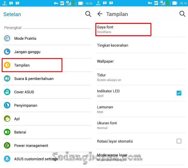 Klik Tampilan Kemudian Klik Gaya Font Di Hp Asus Zenfone 5