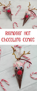 reindeer hot chocolate cones. Easy to make and perfect to put in a Christmas Eve box