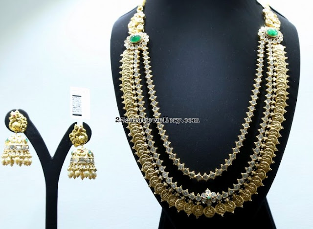Two Layer Kasu Mala with Polki Diamonds