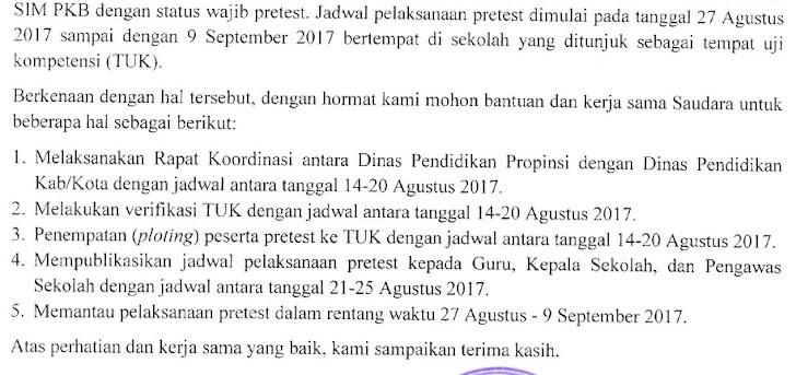 Jadwal Pretest PKB untuk Guru, Kepala Sekolah dan Pengawas Mulai 27 Agustus - 09 September 2017