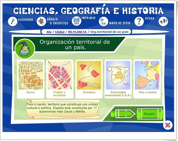 """""""Organización territorial de un país"""" (Ciencias Sociales de 3º y 4º de Primaria)"""