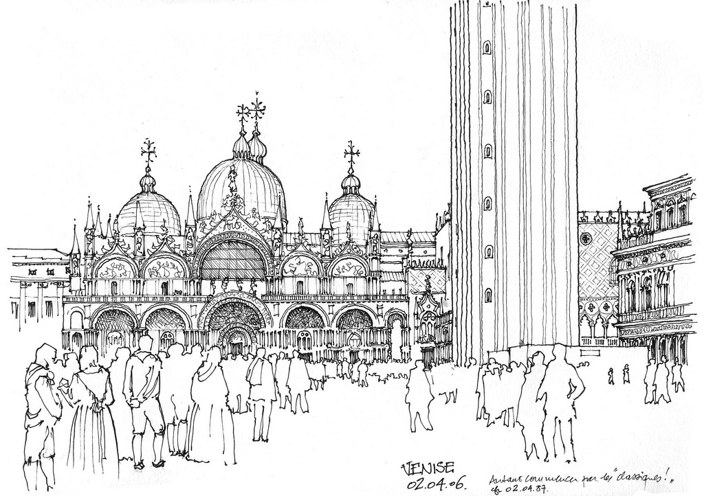 11-Venice-Piazza-San-Marco-Gérard-Michel-Italian-Urban-Sketches-to-Capture-Architecture-in-a-moment-in-Time-www-designstack-co