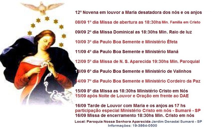 Oração Da Noite Nossa Senhora Aparecida Rogai Por Nós: .: 12º Novena Em Louvor A Maria Desatadora Dos Nós E Os