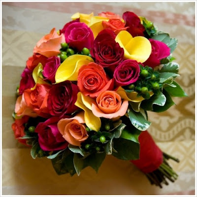 orange and red bridal bouquet