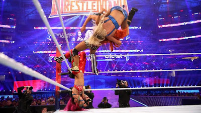 Sasha Banks, Becky Lynch, and Charlotte at Wrestlemania 32