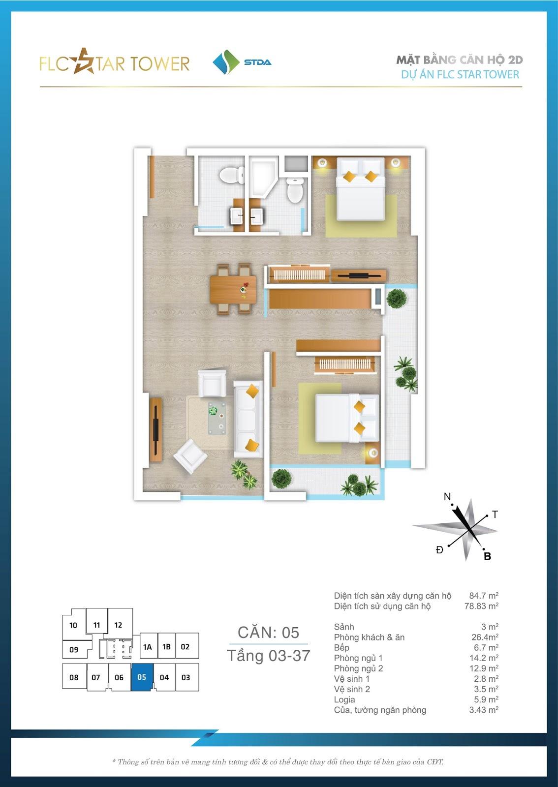 Thiết kế căn hộ 05 - Chung cư FLC Star Tower Hà Đông