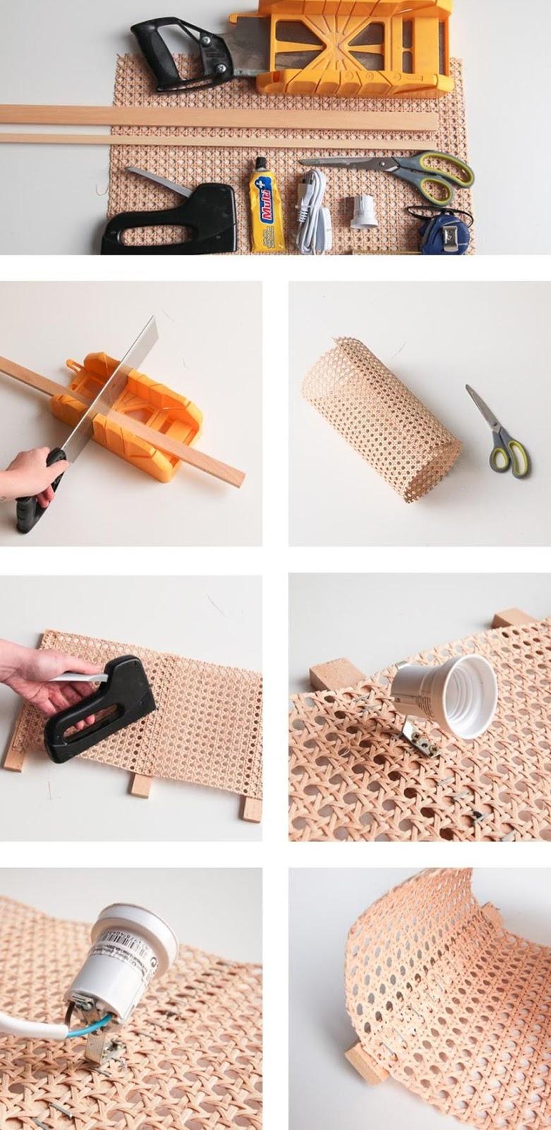 diy lampara de cannage o rejilla para decorar facil y lowcost paso a paso