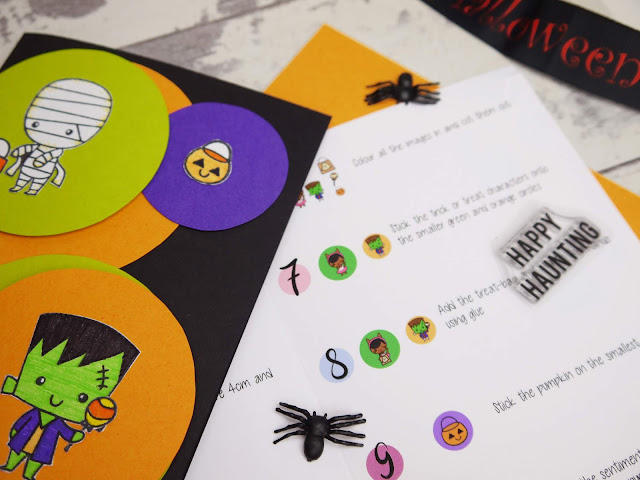 A section of an instruction sheet with diagrams detailing how to make a monster greeting card