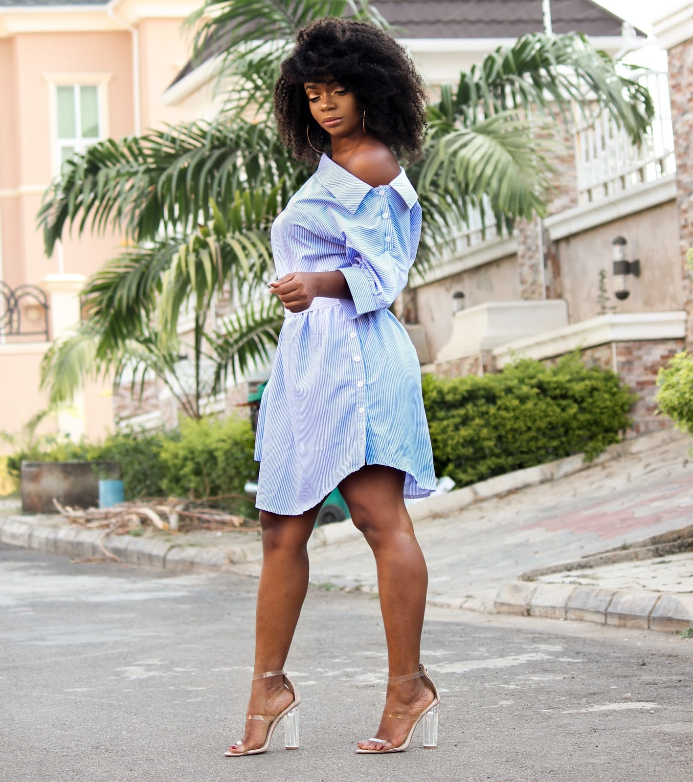 OFF SHOULDER STRIPED DRESS - Blue Off Shoulder Striped Dress from Jumia