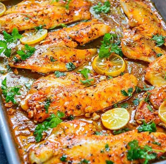 Spicy Lemon Garlic Baked Tilapia #dinner #heartymeal