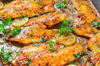 Spicy Lemon Garlic Baked Tilapia #dinner #heartymeal