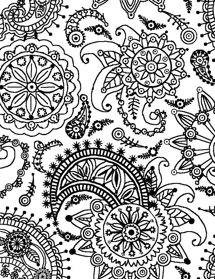 coloring pages patterns | Coloring Page World: Paisley Flower Pattern (Portrait)