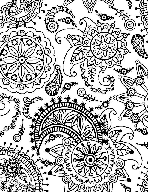 coloring pages of flowers online | Coloring Page World: Paisley Flower Pattern (Portrait)
