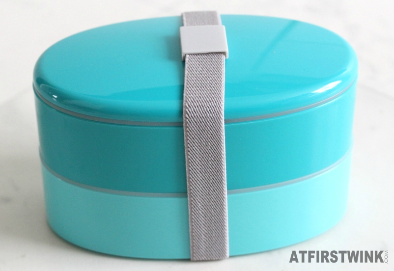 Flying Tiger lunch box two layers turquoise green grey elastic band