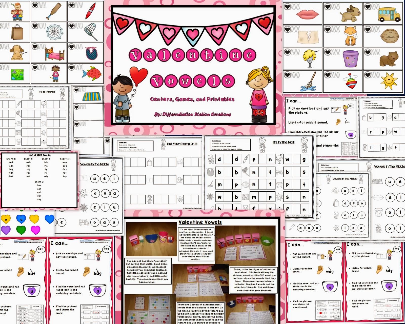 http://www.teacherspayteachers.com/Product/Valentine-Vowels-CVC-Words-Medial-Vowel-Sounds-Center-Printables-1103033
