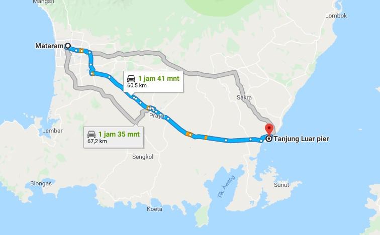 Rute Mataram - Kediri - Pantai Pink Lombok