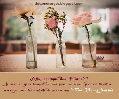 Allo, boutique des Fleurs?! Je veux un gros bouquet de rose pour les beaux Yeux qui liront ce message, pour lui souhaité de passer une Très Bonne Journée