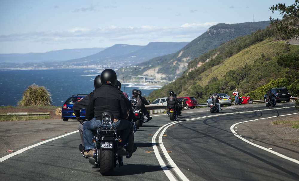 Hogs for Dogs Harley Riders on their way to Mount Keira lookout