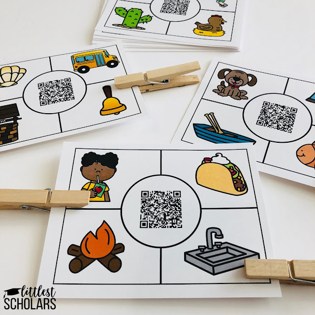 Combine listening and rhyming skills with fine motor development with this activity! Students listen to the audio prompt and place a clothespin on the picture words that rhyme with the word said in the audio file.