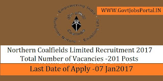 Northern Coalfields Limited Recruitment 2017 for Stanographer