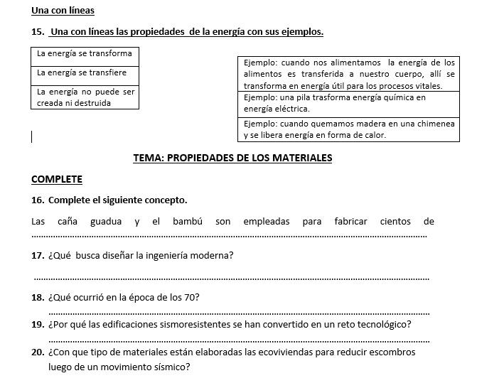 5to EGB: Tareas Académicas Independientes: Ciencias Naturales