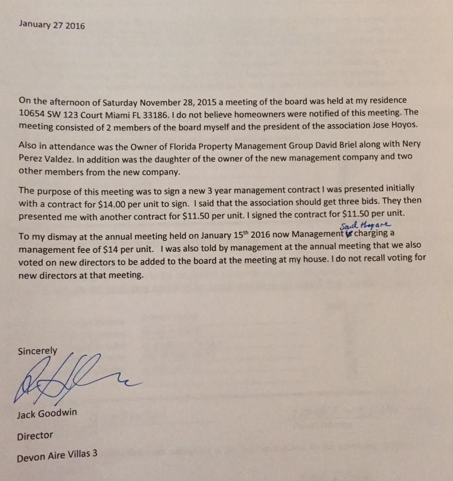Florida Homeowners Association ~ HOA ~ Corruption : 2016