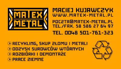 Wizytówki dla Matex Metal, identyfikacja wizualna, projekt graficzny