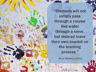 Handprints on a paper, with the saying: Students will not simply pass through a course like water through a sieve, but instead leave their own imprint on the learning process by Bryn Holmes (2001)